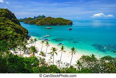 koh, parque, angthong, vista, nacional, marina, tailandia, pájaro, ojo, samui