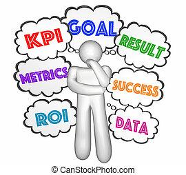 kpi, pensador, nubes, llave, indicador, pensamiento, ilustración, rendimiento, metas, 3d