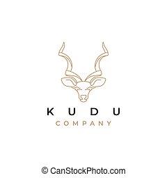 kudu, línea, vector, diseño, arte, logotipo