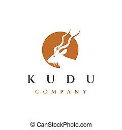 kudu, vector, diseño, sol, logotipo