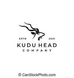kudu, vector, ilustración, diseño, logotipo