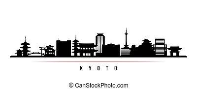 kyoto, contorno, banner., horizontal