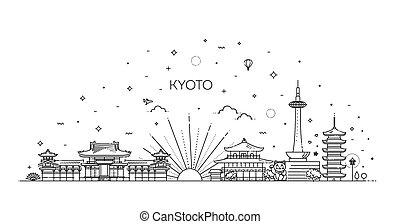 kyoto, vector, iconos, conjunto, set., vacaciones