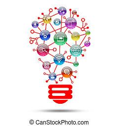 lámpara, apps, el consistir, iconos