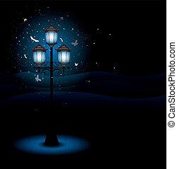 lámpara, calle, viejo, noche