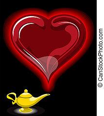 Lámpara de aladino con corazones