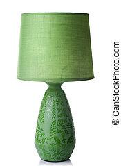 Lámpara de escritorio verde aislada en blanco