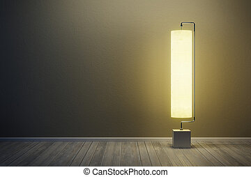 lámpara, habitación, iluminado, nigh, piso