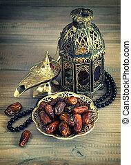 lámpara, linterna, vacaciones, oriental, concep, árabe, rosary., fechas