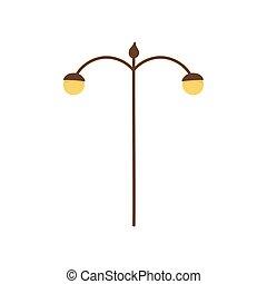 lámpara, luz, icono, poste, calle