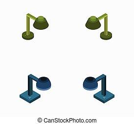 lámpara, vector, escritorio, plano de fondo, icono, ilustrado, blanco