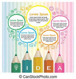 lápices, colorido, creativo, infographic, plantilla, dibujo lineal