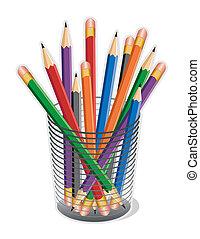 lápices, multicolor, plomo