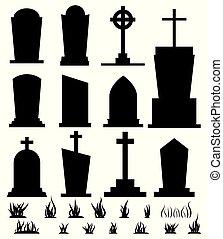 lápida, illustration., silueta, backgroundvector, feriado, negro, aislado, blanco, caricatura, estilo, conjunto, plano, halloween