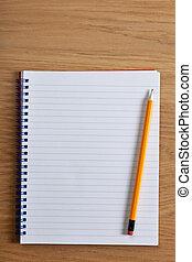 lápiz, bloc, blanco