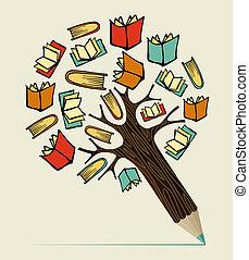 lápiz, concepto, educación, lectura, árbol