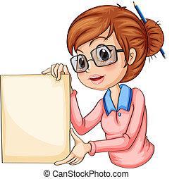 lápiz, ella, pelo, tenencia, signage, niña, vacío