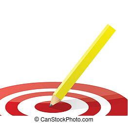 Lápiz en medio de un objetivo