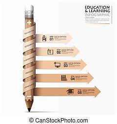 lápiz, flecha, espiral, paso, infographic, aprendizaje, educación