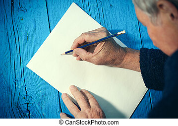 lápiz, hoja, papel, blanco, 3º edad, blanco, hombre