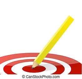 lápiz, ilustración, target., medio