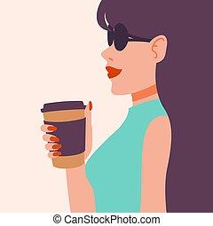 lápiz labial, largo, mujer, hermoso, arte, illustration., vector, niña, taponazo, cup., drink., dama joven, rojo, manicura, el gozar, bebida, gafas de sol, oscuridad, fashion., coffee., pelo