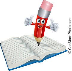lápiz, libro, caricatura, hombre, escritura