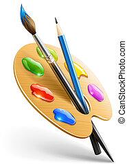 lápiz, paleta, arte, pincel, herramientas, dibujo