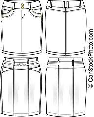 lápiz, tela vaquera, dama, faldas