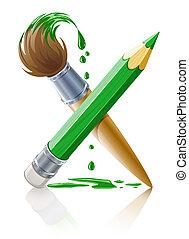 Lápiz verde y pincel con pintura