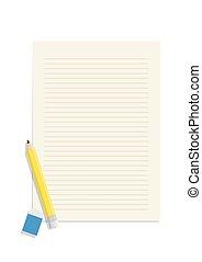 Lápiz y goma de borrar en un vector de papel en blanco.