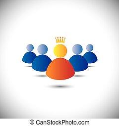 Líder con el liderazgo de la corona, equipo de trabajo en equipo vector i