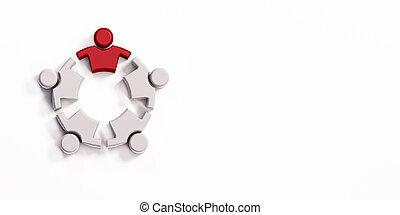 líder, empresarios, workplace., grupo, render, ilustración, 3d