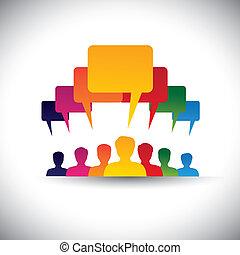 Líder líder concepto de motivación de la gente - vector gráfico. Este gráfico también representa las redes sociales, las reuniones de la junta, la unión de estudiantes, la voz, las reuniones del personal de la empresa, etc
