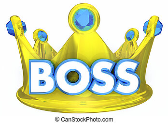 líder, superior, director, supervisor, ilustración, jefe, corona, 3d