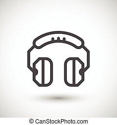 línea, auriculares, icono