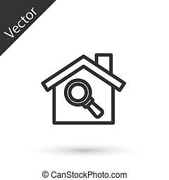 línea, bienes raíces, búsqueda, casa, fondo., aumentar, blanco, icono, símbolo, gris, debajo, aislado, vector, vidrio.