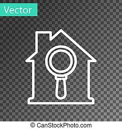 línea blanca, búsqueda, casa, propiedad, debajo, icono, aislado, vector, transparente, fondo., verdadero, aumentar, símbolo, vidrio.