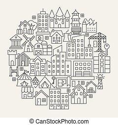 línea, círculo, iconos, edificio
