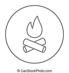 línea, campfire, icon.