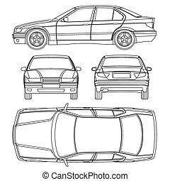 línea, coche, dibujo