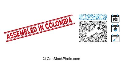 línea, colombia, armados, mosaico, opciones, sello, fecha, angustia, icono