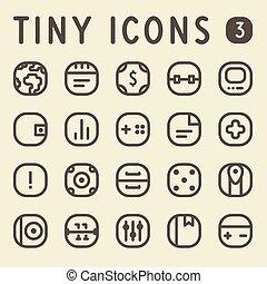 línea, conjunto, 3, diminuto, iconos