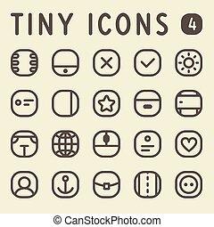 línea, conjunto, 4, diminuto, iconos
