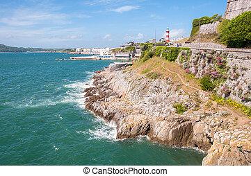 Línea costera en Plymouth