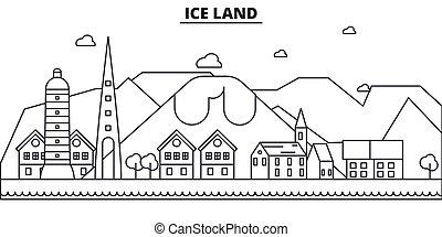 Línea de arquitectura de Islandia ilustración en el horizonte. Vector lineal Cityscape con puntos de referencia famosos, vistas de la ciudad, iconos de diseño. Edición de golpes