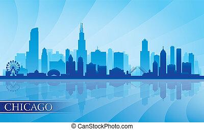 Línea de Chicago detallista detallada silueta