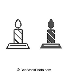 Línea de velas y icono glifo. Ilustración de vectores llamas aislada en blanco. Diseño de diseño de diseño de esquema de fuego, diseñado para web y aplicación. Eps 10.