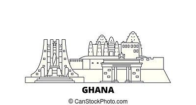 Línea de viaje de Ghana fijada. Ghana esboza la ilustración de vectores de la ciudad, símbolo, vistas de viaje, puntos de referencia.