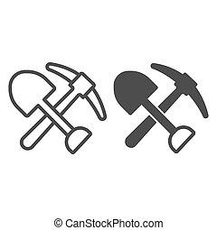 línea, design., sólido, icono, graphics., icono, trabajo, símbolo, blanco, contorno, pico, minería, plano de fondo, cruzado, vector, día, estilo, equipo, pico, móvil, tela, concepto, pala